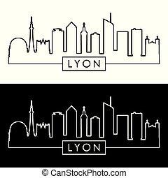 Lyon skyline. Linear style.
