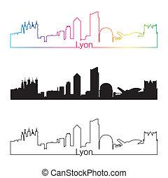 Lyon skyline linear style with rainbow in editable vector...