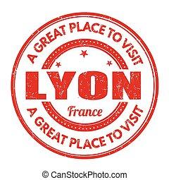 Lyon stamp - Lyon grunge rubber stamp on white background,...