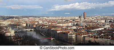 Lyon view - Details of a panoramic view of Lyon .
