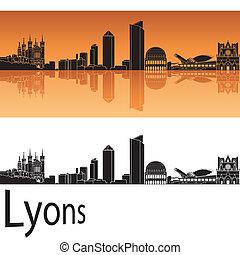Lyons skyline in orange background in editable vector file