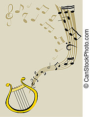 Lyre and notes - Vector image of the lyre.