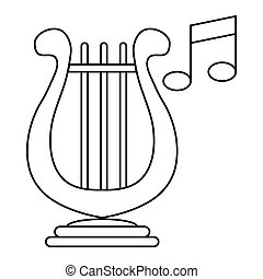 Lyre and two notes icon, outline style