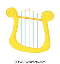 Lyre icon in cartoon style
