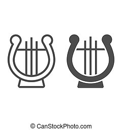 Lyre line and glyph icon, musical and ancient, harp sign, vector graphics, a linear pattern on a white background.