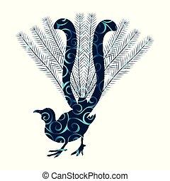 lyrebird, silhouette, couleur, modèle, spirale, animal, oiseau