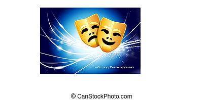 lys, abstrakt, moderne, masker, baggrund, komik, tragedie