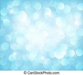 lys blå, vektor, bokeh, baggrund