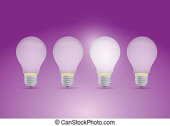 lys, ide, række, begreb, pærer