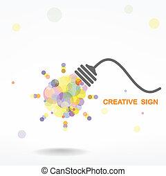 lys, kreative, begreb, ide, pære
