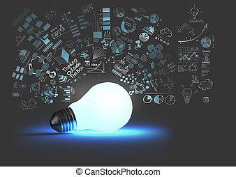 lys pære, 3, på, strategi branche, baggrund, idet, begreb