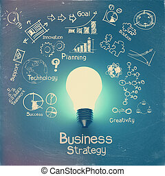lys pære, 3, på, strategi branche, baggrund