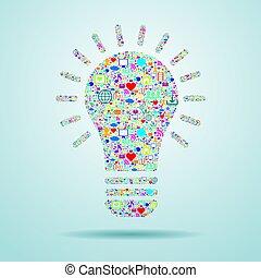 lys pære, hos, sociale, medier, icons.