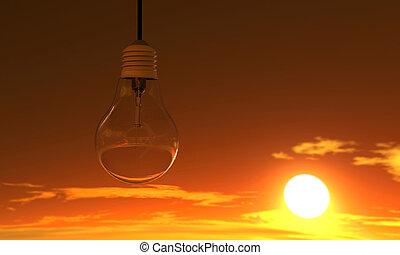 lys pære, ind, solnedgang