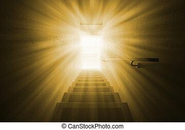 lys, signallys, på, den, dør, til, den, future.