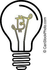 lys, symbol, bitcoin, valuta, lampe, pære