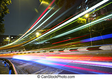 lys trails, på, hovedkanalen