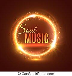 lysa, affisch, själ, vektor, musik, lätt
