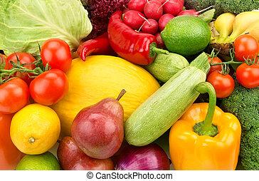 lysande, bakgrund, av, mogen, frukt, och, grönsaken