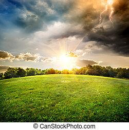 lysande, blixt, över, fält