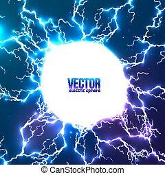 lysande, elektrisk, blixt, vita krets, ram