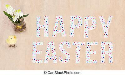 lysande, färgrik, glad påsk, text, fågelunge, blomningen, på, ved, bakgrund., avskrift tomrum