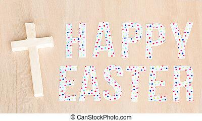 lysande, färgrik, glad påsk, text, och, trä, kors, och, bakgrund., avskrift, space.
