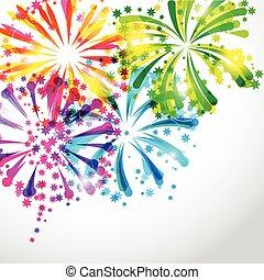 lysande, fireworks, bakgrund, färgrik, hälsning