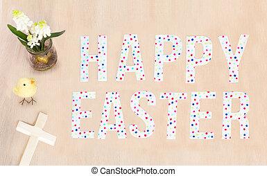 lysande, glad påsk, text, fågelunge, blomningen, ved, kors, och, bakgrund., avskrift, space.