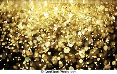lysande, glitter, guld