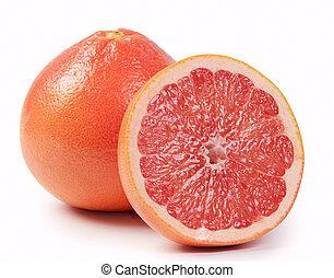 lysande, grapefrukt, isolerat, vita, bakgrund