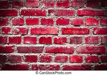 lysande, grunge, röd, brickwall