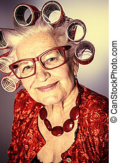 lysande, kvinna, gammal