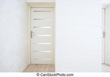 lysande, lägenhet, dörr, stängd