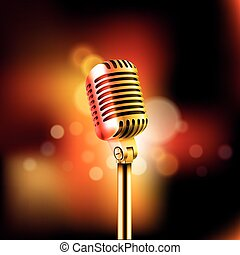 lysande, mikrofon, vektor, illustration., standup, komedi,...