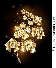 lysande, orkidé, gyllene