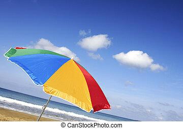 lysande, parasoll, strand