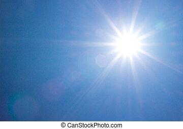 lysande, sol, hos, fri, blåttsky