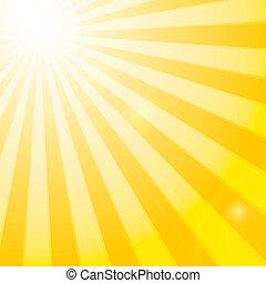 lysande, sol, in, den, molnig, blåttsky