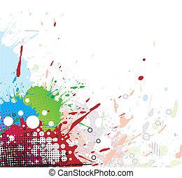 lysande, splat, design, färgglatt, bläck