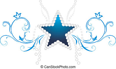 lysande, star., dekorativ, symbol