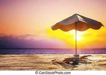 lysande, strand, bakgrund