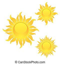lysande, symboler, sol