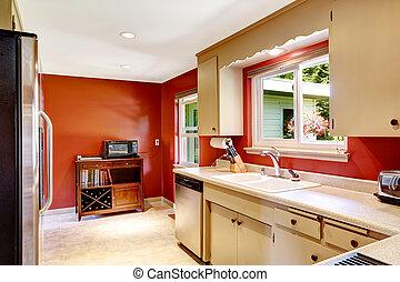 lysande, väggar, rum, röd, kök