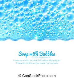lysande, vatten, bakgrund, med, bubblar