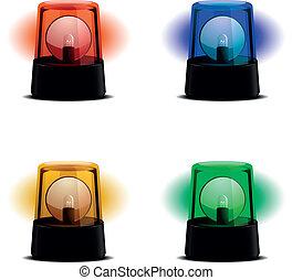 lyse, blinkande, olika