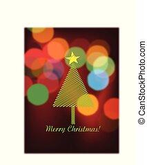 lyse, bokeh, vektor, träd, jul