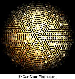 lyse, guld, bakgrund, disko