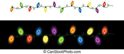 lyse, repeterande, färgad, jul
