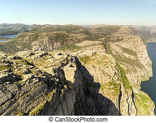 lysefjord, aéreo, norway., foto, preikestolen, púlpito,...